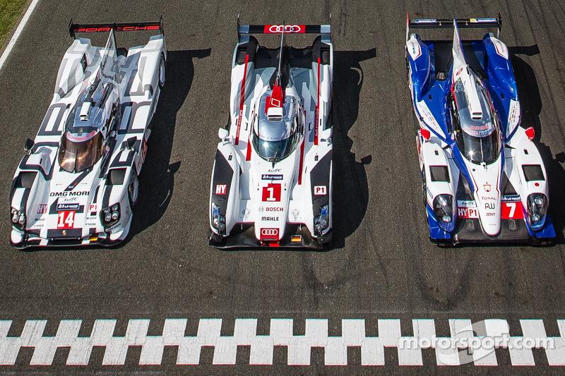 #14 Porsche Team Porsche 919 Hybrid, #1 Audi Sport Team Joest Audi R18 E-Tron Quattro, #7 Toyota Rac