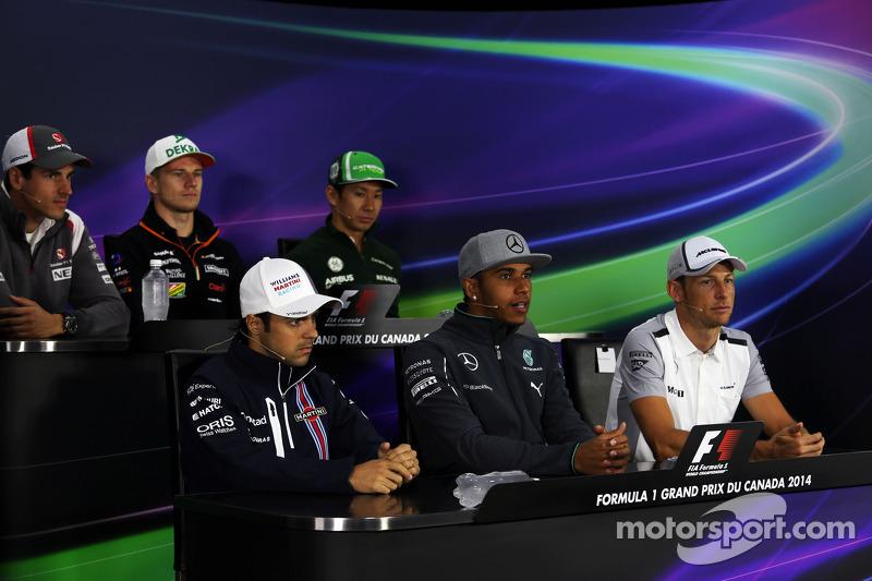 Conferenza stampa FIA: Adrian Sutil, Sauber; Nico Hulkenberg, Sahara Force India F1; Kamui Kobayashi