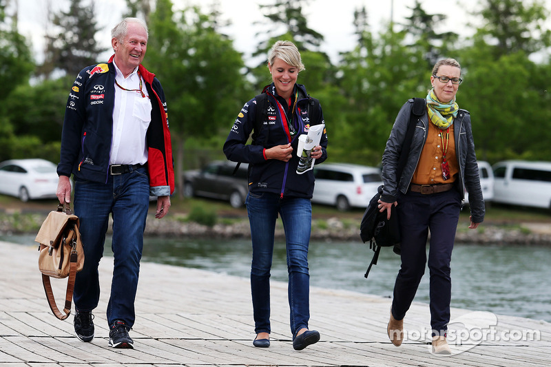 Dr Helmut Marko, Red Bull Motorsport Consultant with Britta Roeske, Red Bull Racing Press Officer an
