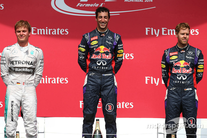 2014 - 1. Daniel Ricciardo, 2. Nico Rosberg, 3. Sebastian Vettel