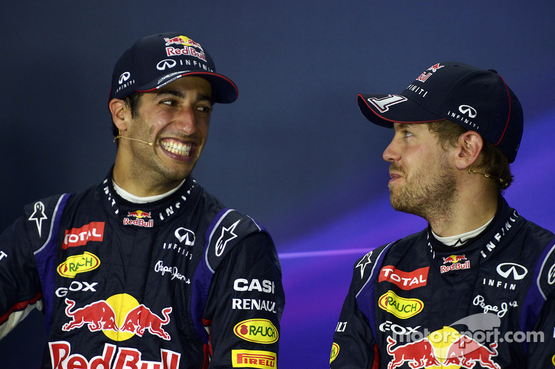 (L to R): Race winner Daniel Ricciardo, Red Bull Racing with team mate Sebastian Vettel, Red Bull Racing in the post race FIA Press Conference