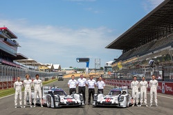 #14 Porsche Team Porsche 919 Hybrid: Romain Dumas, Neel Jani, Marc Lieb and #20 Porsche Team Porsche 919 Hybrid: Timo Bernhard, Mark Webber, Brendon Hartley