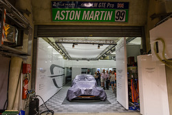 #99 Aston Martin Racing Aston Martin Vantage V8 in its garage after withdrawing from the event
