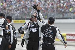 Jimmie Johnson's crew celebrates the victory