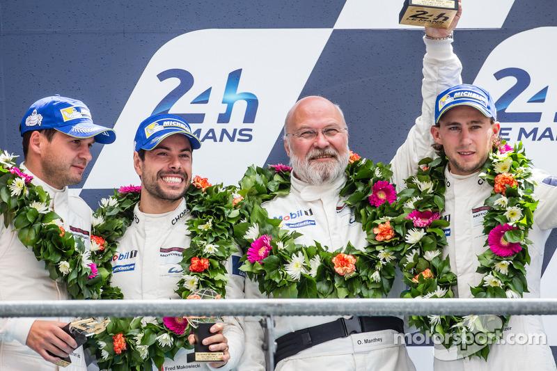 LMGTE Pro podium: third place Marco Holzer, Frédéric Makowiecki, Richard Lietz with Olaf Manthey