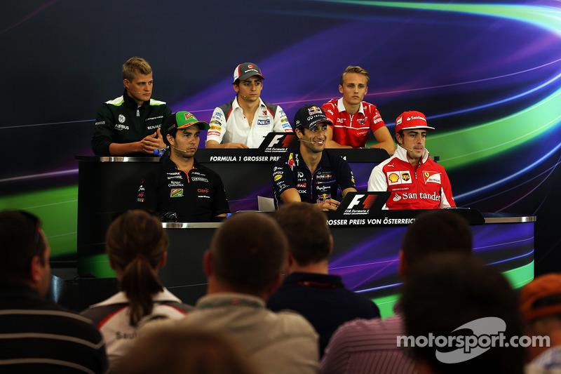 La conferenza stampa FIA, Caterham; Esteban Gutierrez, Sauber; Max Chilton, Marussia F1 Team; Sergio Perez, Sahara Force India F1; Daniel Ricciardo, Red Bull Racing; Fernando Alonso, Ferrari