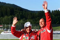 Niki Lauda, Mercedes Non-Executive Chairman with Gerhard Berger (AUT)