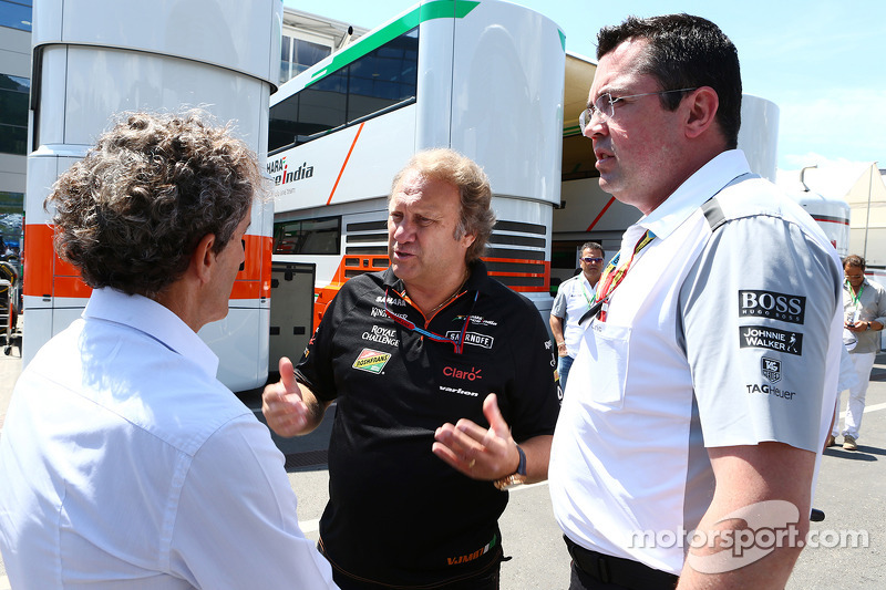 (L to R): Alain Prost, with Robert Fernley, Sahara Force India F1 Team Deputy Team Principal and Eri