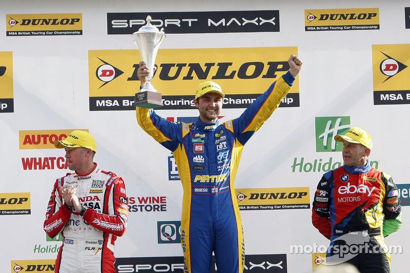 Podium: race winner Andrew Jordan, second place Rob Collard, third place Gordon Shedden