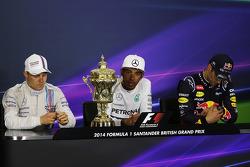 The post race FIA Press Conference, Mercedes AMG F1, second; Lewis Hamilton, Mercedes AMG F1, race winner; Daniel Ricciardo, Red Bull Racing, third