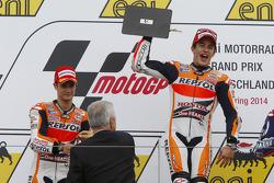 Podium: race winner Marc Marquez, second place Dani Pedrosa