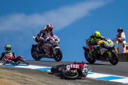 Davide Giugliano going the wrong way into the corkscrew