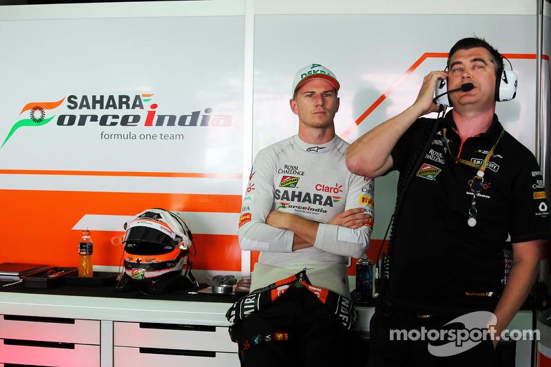 (L to R): Nico Hulkenberg, Sahara Force India F1 with Bradley Joyce, Sahara Force India F1 Race Engi