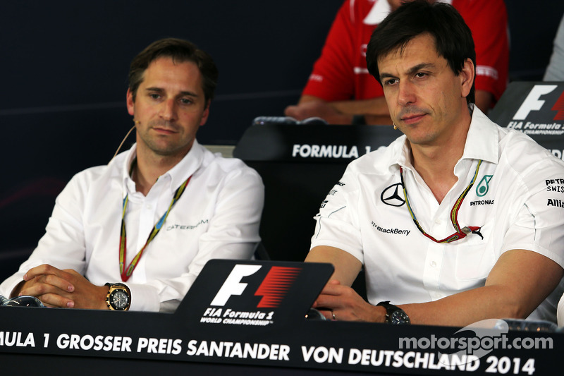(L to R): Christian Albers, Caterham F1 Team, Team Principal and Toto Wolff, Mercedes AMG F1 Shareholder and Executive Director in the FIA Press Conference