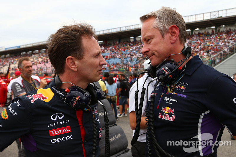 (L to R): Christian Horner, Red Bull Racing Team Principal with Jonathan Wheatley, Red Bull Racing T