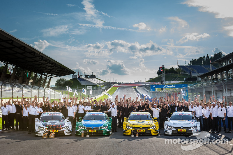 BMW Motorsport celebrates top four positions: race winner Marco Wittmann, BMW Team RMG BMW M4 DTM, second place Augusto Farfus, BMW Team RBM BMW M4 DTM, third place Timo Glock, BMW Team MTEK BMW M4 DTM, fourth place Martin Tomczyk, BMW Team Schnitzer BMW