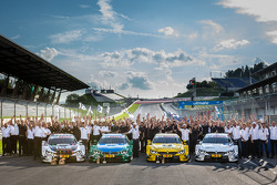 BMW Motorsport celebrates top four positions: race winner Marco Wittmann, BMW Team RMG BMW M4 DTM, second place Augusto Farfus, BMW Team RBM BMW M4 DTM, third place Timo Glock, BMW Team MTEK BMW M4 DTM, fourth place Martin Tomczyk, BMW Team Schnitzer BMW