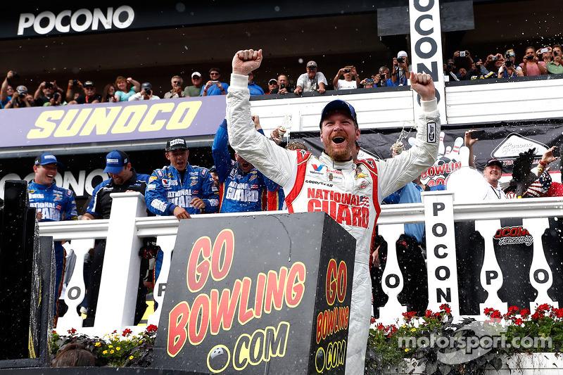 Dale Earnhardt Jr. celebrates
