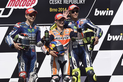 Race winner Dani Pedrosa, second place Jorge Lorenzo, third place Valentino Rossi