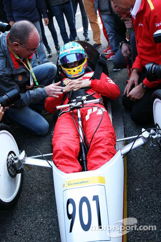Fernando Alonso, Ferrari drives a car from the Shell Eco Marathon