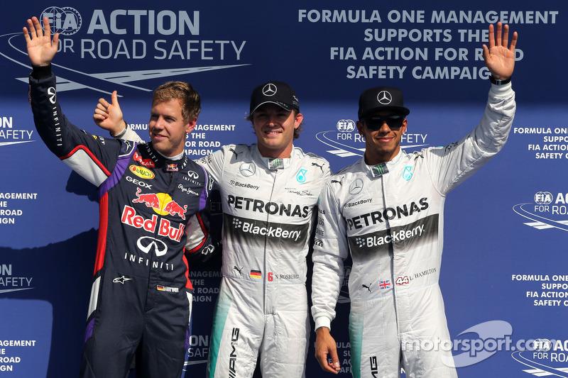 Sebastian Vettel, Red Bull Racing, Nico Rosberg, Mercedes AMG F1 Team e Lewis Hamilton, Mercedes AMG