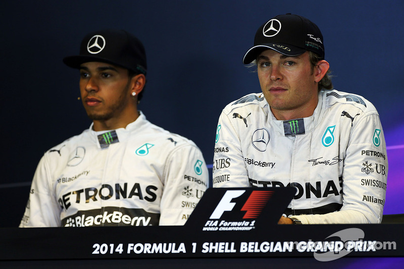 Pole sitter Nico Rosberg, Mercedes AMG F1, and team mate Lewis Hamilton, Mercedes AMG F1 in the qualifying FIA Press Conference