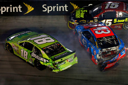 Kyle Busch, Clint Bowyer and Aric Almirola in a crash