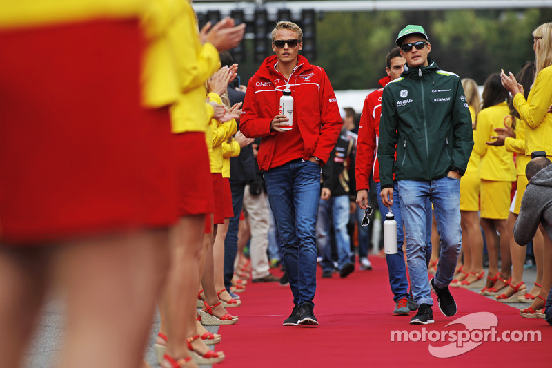 (L to R): Max Chilton, Marussia F1 Team and Marcus Ericsson, Caterham on the drivers parade