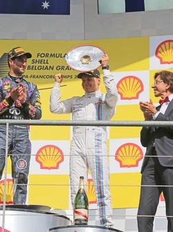 Valtteri Bottas, Williams celebrates his third position on the podium