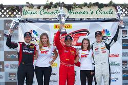 GT Winners Podium: Ryan Dalziel (second, left), Anthony Lazzaro (first, center), Robert Thorne (third, right)