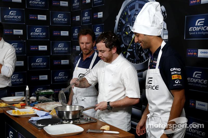 Casio Edifice Lansmanı, Red Bull Enerji İstasyonu'nda, Daniel Ricciardo, Red Bull Racing, Tom Sellers, Michelin-yıldız şefi ve Christian Horner, Red Bull Racing Takım Patronu