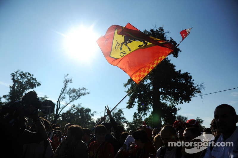 Fans and Ferrari flag