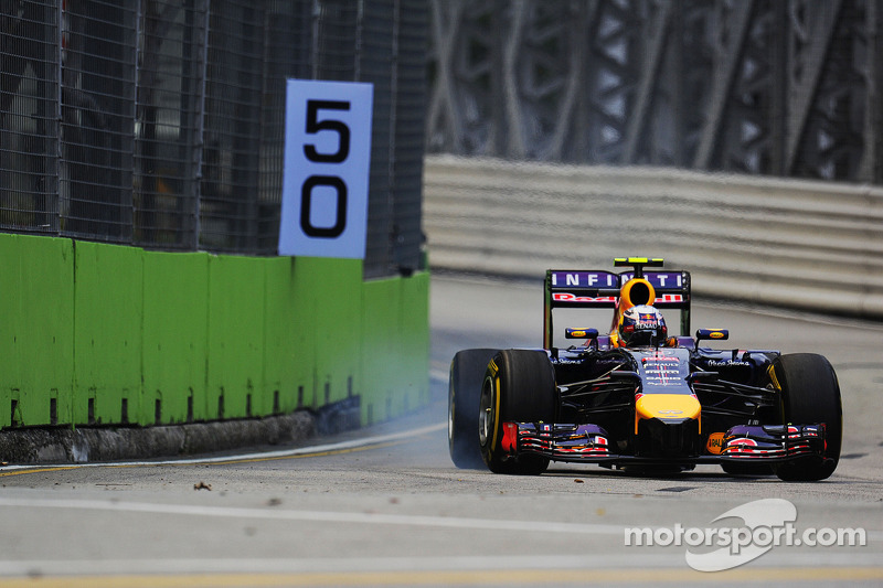 Daniel Ricciardo, Red Bull Racing RB10 locks up under braking