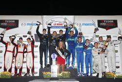 Class podium: P winners Ricky Taylor, Jordan Taylor, Max Angelelli, P2 winners Mirco Schultis, Renger van der Zande, Alex Popow, GTLM winners Wolf Henzler, Bryan Sellers, Marco Holzer, GTD winners Christopher Haase, Bryce Miller, Matt Bell