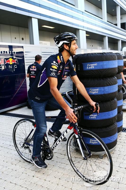 Daniel Ricciardo, Red Bull Racing on his bicycle