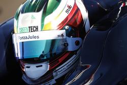 #ForzaJules on helmet of Nathanael Berthon
