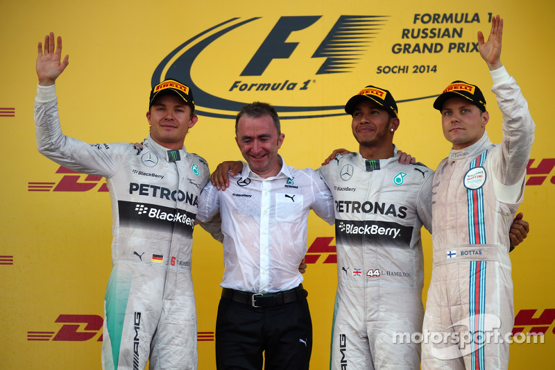 2014 : 1. Lewis Hamilton, 2. Nico Rosberg, 3. Valtteri Bottas