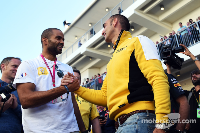 (L to R): Tony Parker, NBA Basketball Player with Cyril Abiteboul, Renault Sport F1 Managing Directo
