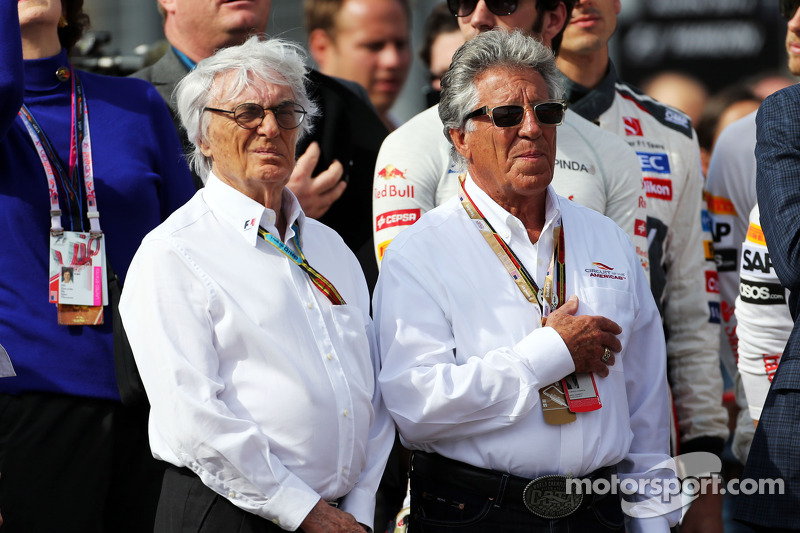 (L to R): Bernie Ecclestone, with Mario Andretti, Circuit of The Americas' Official Ambassador on th