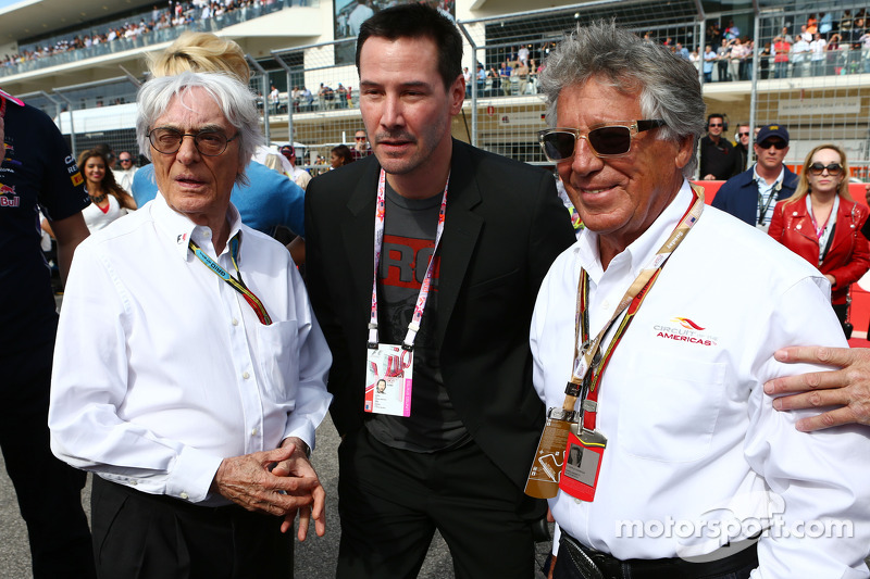 (L to R): Bernie Ecclestone, with Keanu Reeves, Actor and Mario Andretti, Circuit of The Americas'