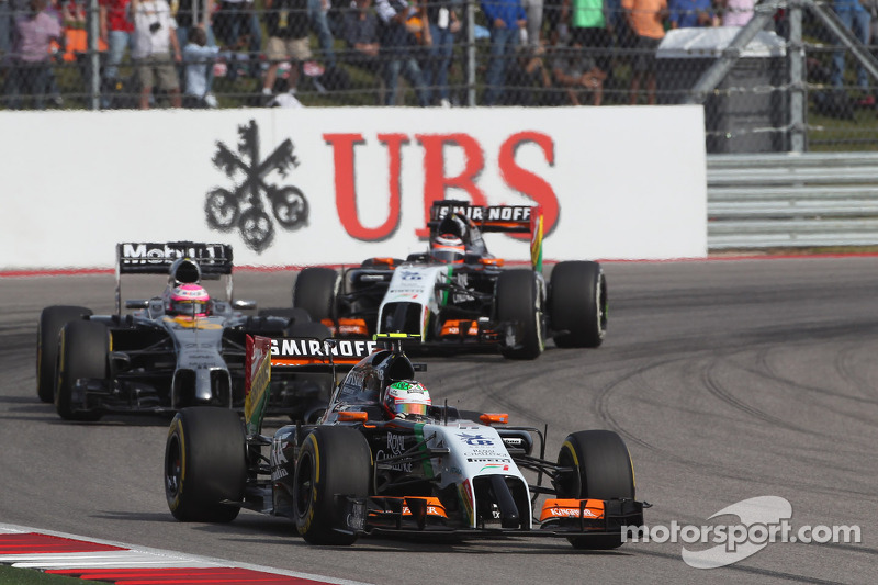 Sergio Pérez, Sahara Force India F1 VJM07 on de formation lap
