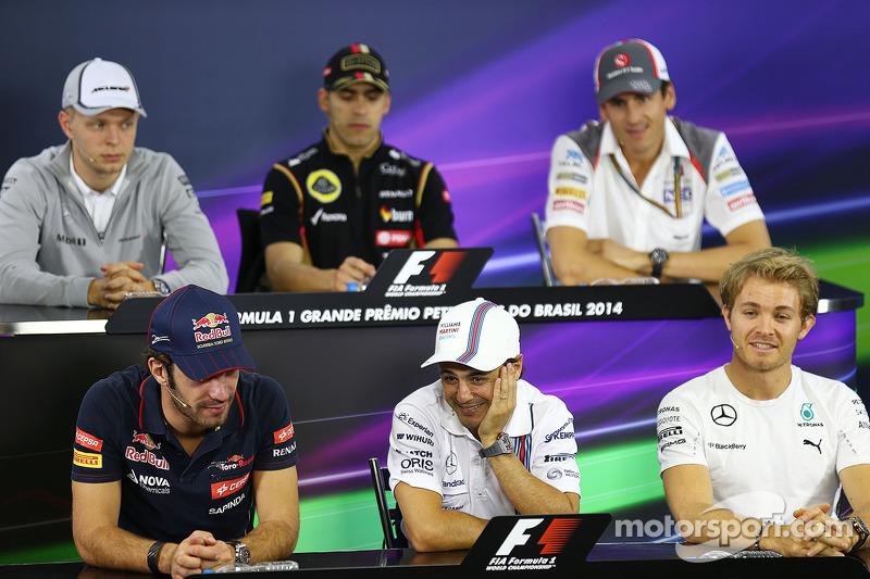La conferenza stampa FIA, McLaren; Pastor Maldonado, Lotus F1 Team; Adrian Sutil, Sauber; Jean-Eric Vergne, Scuderia Toro Rosso; Felipe Massa, Williams; Nico Rosberg, Mercedes AMG F1