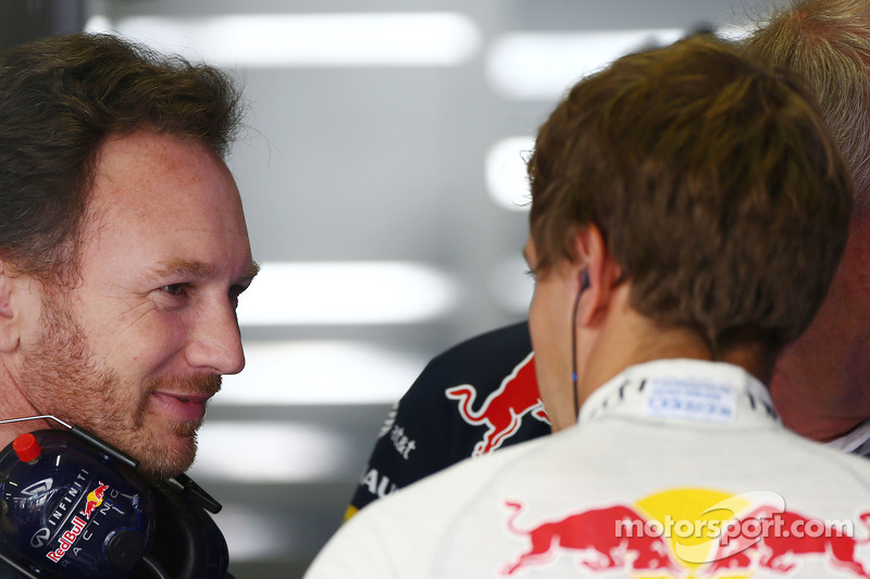 Christian Horner, director de Red Bull Racing, con Sebastian Vettel, Red Bull Racing