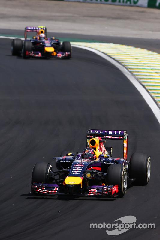 Daniel Ricciardo, Red Bull Racing RB10 leads team mate Sebastian Vettel, Red Bull Racing RB10