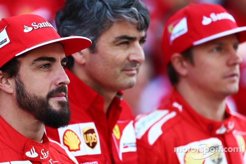 (L to R): Fernando Alonso, Ferrari with Marco Mattiacci, Ferrari Team Principal and Kimi Raikkonen,