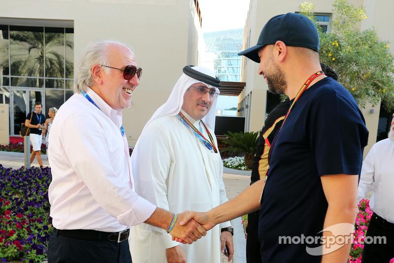 (L to R): Gerard Lopez, Lotus F1 Team Principal with Sheikh Mohammed bin Essa Al Khalifa, CEO of the Bahrain Economic Development Board and Gerard Lopez, Lotus F1 Team Principal