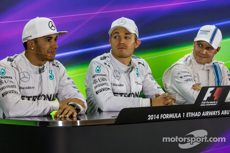 Conferenza stampa della FIA post qualifiche: Lewis Hamilton, Mercedes AMG F1, secondo; Nico Rosberg, Mercedes AMG F1, pole position; Valtteri Bottas, Williams, terzo