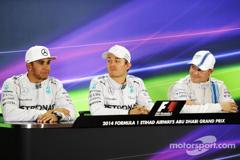 Conferencia pre carrera: Lewis Hamilton, Mercedes AMG F1, segundo; Nico Rosberg, Mercedes AMG F1, pole; Valtteri Bottas, Williams, tercero