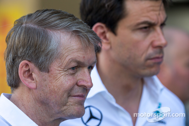 (L to R): Thomas Weber, Member of the Board of Management of Daimler AG with Toto Wolff, Mercedes AMG F1 Shareholder and Executive Director