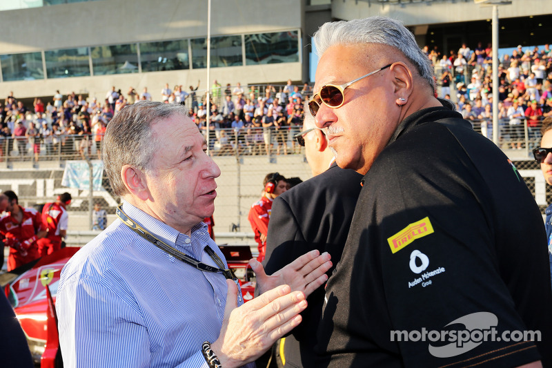 (L to R): Jean Todt, FIA President with Dr. Vijay Mallya, Sahara Force India F1 Team Owner on the gr